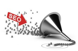 funnel with many chrome balls at the output there is a grey target, at the enter there is an arrow with the word seo - abstract schematic 3d render concept image suitable for conceptual illustration of a seo campaign